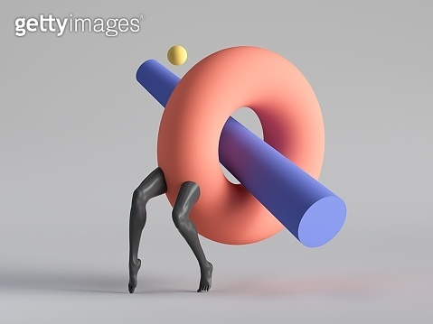 3d render, abstract surreal contemporary art. Primitive colorful geometric shapes: red torus donut, black legs walk, isolated on white background. Modern fashion design, funny freak show