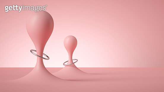 3d render, abstract modern minimal background, pastel pink vertical liquid drops with silver rings, smooth bubbles balloons, anti gravity concept.
