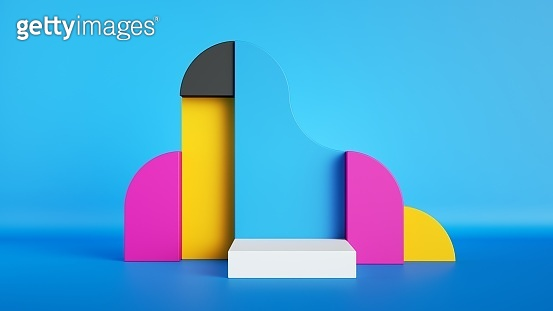 3d render, abstract colorful primitive geometric shapes, blank product display mockup with empty square white podium, copy space. Pink, blue, yellow, black blocks.