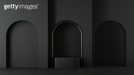 3d render, minimalist black background. Abstract elements. Empty cylinder podium, vacant pedestal, round stage, showcase stand, product display platform, golden arch. Copy space. Modern premium design