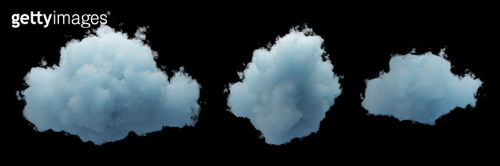 3d render. Set of random shapes of abstract clouds. Cumulus different views, clip art collection isolated on black background