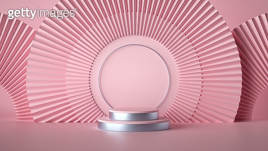 3d render abstract pink fashion background. Empty stage, cylinder podium steps, vacant pedestal. Shop display, showcase, product stand. Copy space, round arch minimal mockup. Art deco style