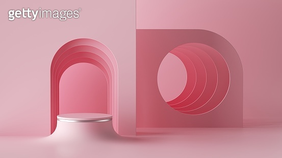 3d render, abstract minimal architectural background, arch niche, room. Empty cylinder podium, vacant pedestal, round stage, showcase stand, blank product display platform. Mockup with copy space
