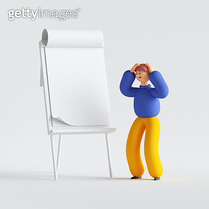 3d render. Man cartoon character made mistake, standing near the presentation board. Blank business mockup. Conference speaker concept. Clip art isolated on white background
