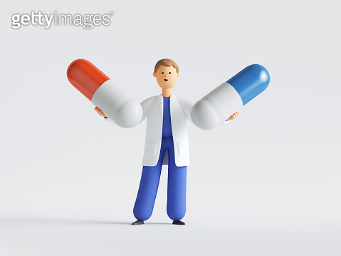 3d render. Doctor or pharmacist cartoon character holding two big pills. Choice concept. Medical healthcare illustration. Pharmaceutical clip art isolated on white background.