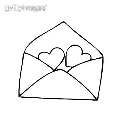 hand drawn envelope with hearts, love letter symbol, simple vector love mail icon, doodle love element for sticker, greeting card or poster