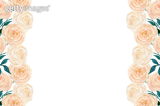 peach roses frame, vintage roses background with copy space for card, invitation or mothers day, romantic botanic illustration