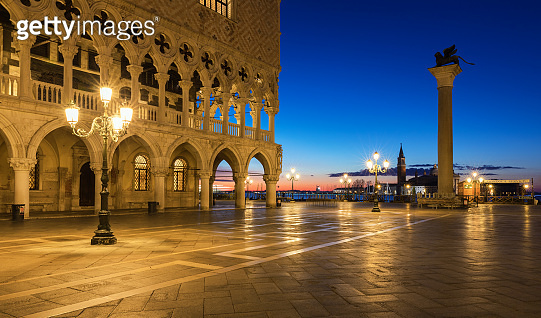 Scenic view of Piazza San Marco in Venice at sunrise, Italy. Piazza San Marco at sunrise, Vinice, Italy. Venice sunrise, famous San Marco square at sunrise in Venice, Italy.