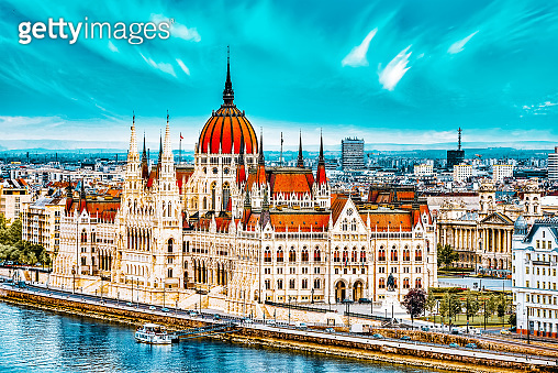 Hungarian Parliament at daytime. Budapest. View from Old Fisherman Bastion