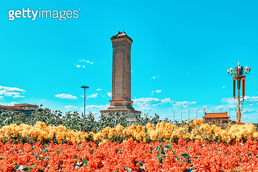 Monument to the People's Heroes on Tian'anmen Square - the third largest square in the world, Beijing.