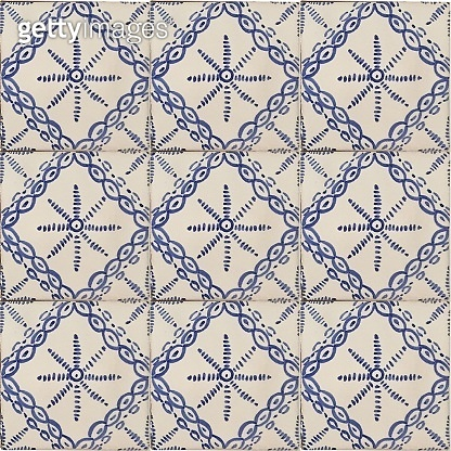Portuguese style ceramic tile texture, azulejos, blue pattern