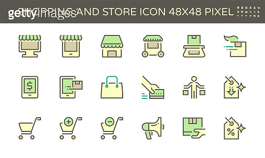 Shopping and store front vector icon set, 48X48 pixel perfect and editable stroke.