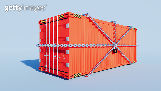 3d rendering of cargo container and  trade lockdown by coronavirus concept design.