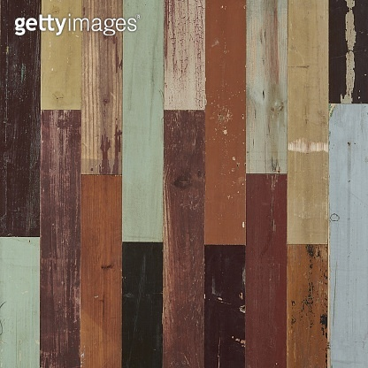 Multicolored aged weathered wood wall and floor panel seamless texture