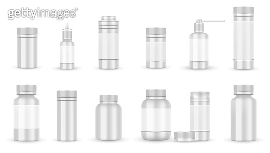 White blank Bottle packaging for pills or capsules isolated. Pharmaceutical medical container and plastic bottle mockup. Vector illustration