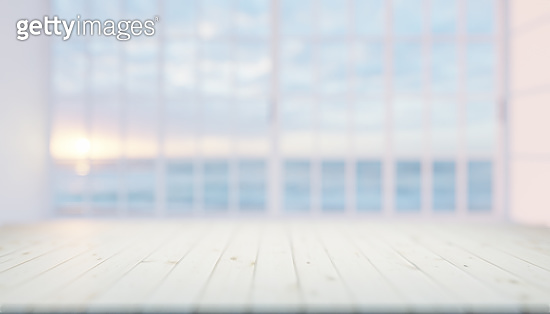 3d rendering of wood countertop product display and blurred window background.