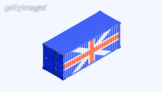 3d rendering of UK trade and business concept design and cargo container.