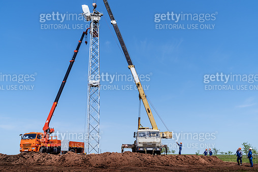 Construction work on the installation of a wind turbine
