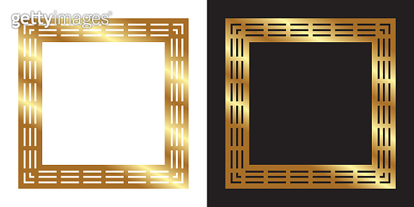 Gold color photo frame, blank background vector design with white, black backgrounds, used gradient.