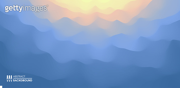 Blue abstract background. Realistic landscape with waves. Sunrise. Cover design template. 3d vector illustration.