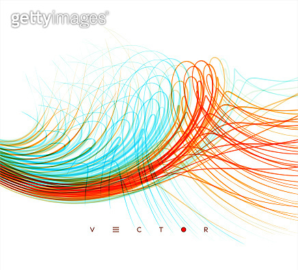 Curved lines with perspective effect. Optical fiber. 3d abstract background. Vector illustration.