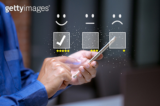 Business customer pressing smiley face emoticon online, Service rating, satisfaction concept.