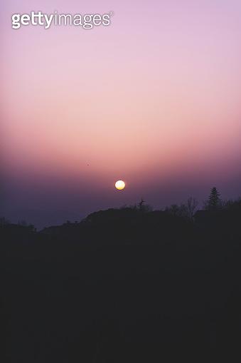 Beautiful landscape at sunset, nature background