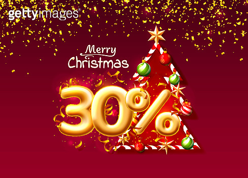 Merry Christmas, sale 30 off ballon number on the red background.