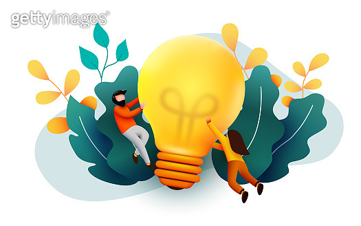 3d Business People with Big Light Bulb Idea. Innovation, Brainstorming, Creativity Concept. Characters Working Together on new Project.