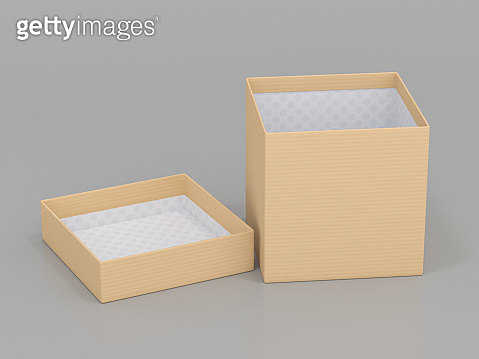 Beige brown gift box. Open carton with lid on gray background