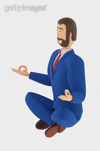 Cartoon character, businessman sitting in lotus position. 3D rendering