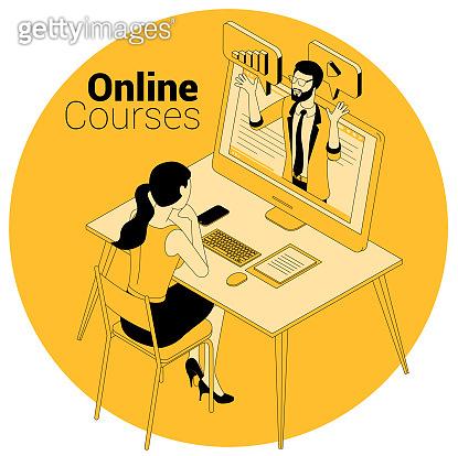 online courses, education, training concept