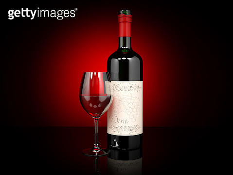 Red wine. Bottle and glass of wine. On dark red background