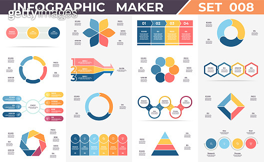 Business infographics. Data visualization templates with timelines, steps, options, processes, diagrams, charts, graphs. Vector infographic maker.