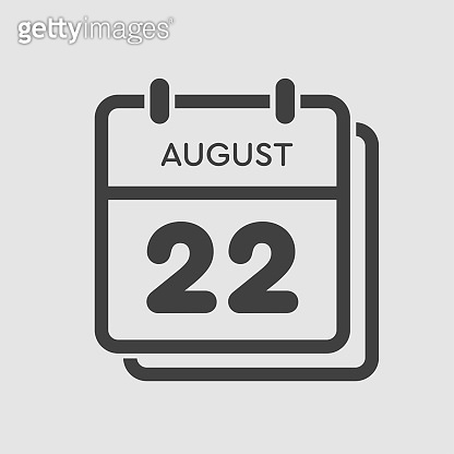 Calendar icon day 22 August, date days of the year