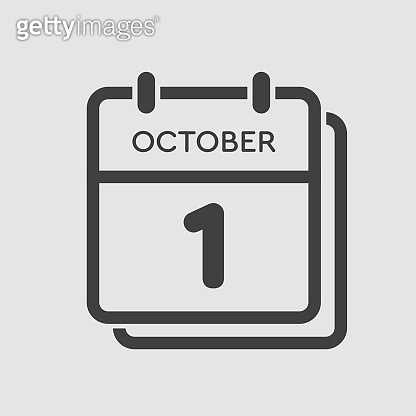 Calendar icon day 1 October, template icon date