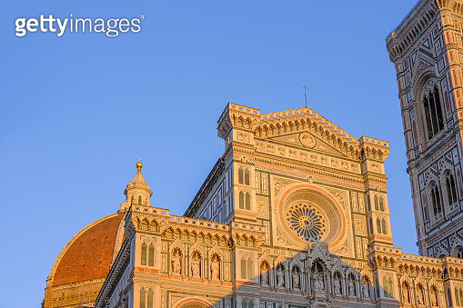 Cathedral Duomo Santa Maria Del Fiore at sunset, Florence, Tuscany, Italy, Europe
