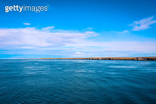 Breath taking View to the Blue Water on the Ferry  Boat to Tierra Del Fuego