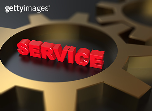 Service 3d red word with golden gears