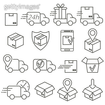 Delivery service linear icons. Express delivery. Packaging and shipping of packages and goods. Vector.