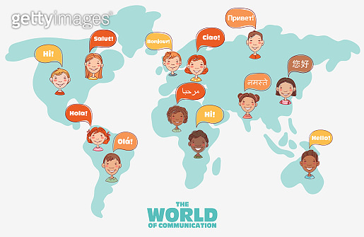 Group of happy smiling kids speaking together. Girls and boys with speech bubbles in different languages over world map
