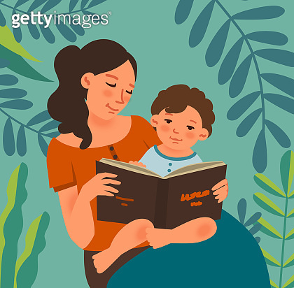 Young mother with baby reading book in the garden. Family, early development, activity, learning. Nature landscape background. Summer holidays illustration. Vacation time