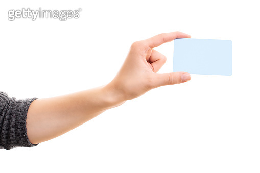 Female  hand holding a blank template white card