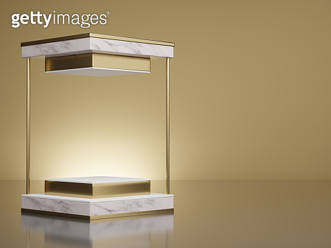 3d rendering mockup of white marble and gold square, pedestal steps on light yellow gold background.