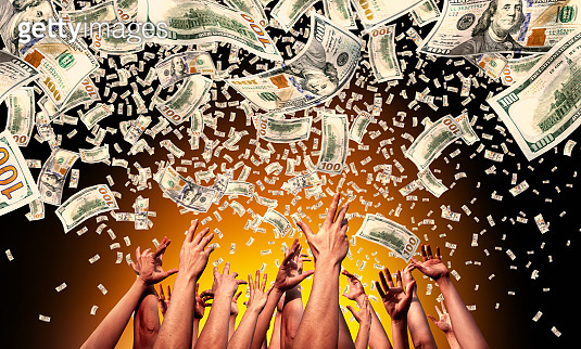 Business prosperity concept of crowd of people and flying money