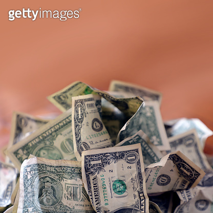 Close up Pile of old American one dollar bills