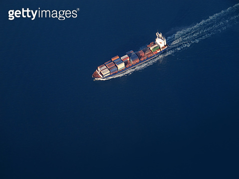 aerial view of container ship on sea