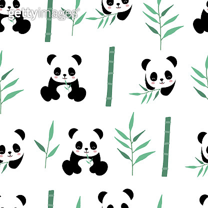 Cute safari background with panda,bamboo.Vector illustration seamless pattern for background,wallpaper,frabic.include wording wild and free.Editable element