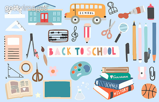 back to school object with pencil,bus,book,pen,ball,sharpener. illustration for logo,sticker,postcard,birthday invitation.Editable element