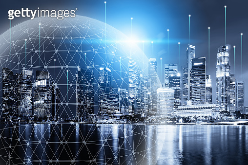 Technology Network Connect and Intelligence Smart City, Communication 5G Networking for Global Business Futuristic. Digital Big Data Connection Via Technology Telecommunication 5G, Community Connect.